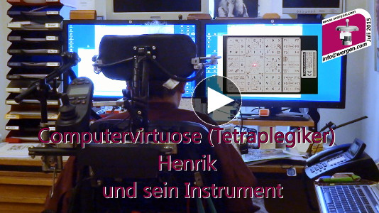 video computervirtuose (tetraplegiker) henrik und sein instrument